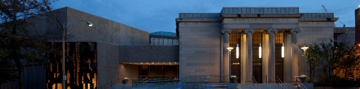 Evening View of Temple Israel's Riverway Entrance